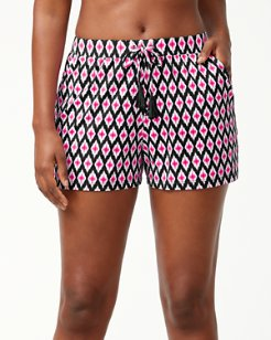 Cerise Tiles Pull-On Shorts