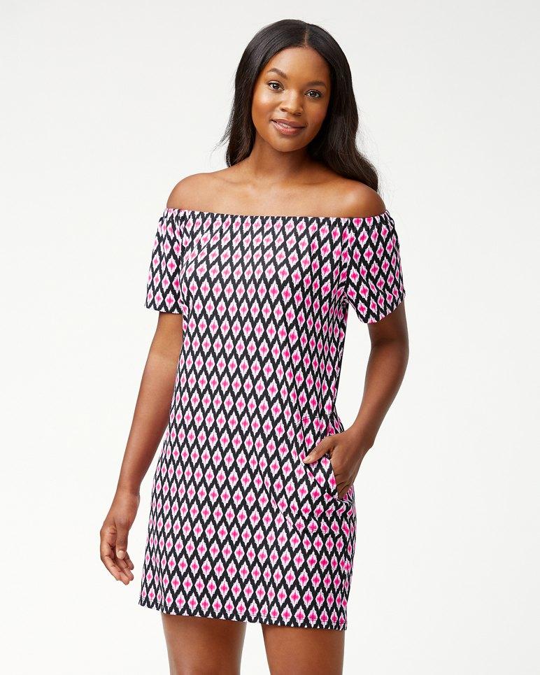 Main Image for Cerise Tiles Off-The-Shoulder Swim Dress