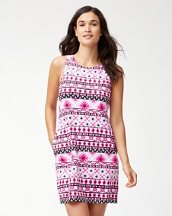 Cerise Tiles Tank Swim Dress