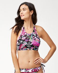 Ocean Garden Reversible High-Neck Bikini Top