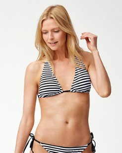 Little Stripe Halter Bikini Top