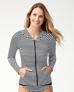 Little Stripe Long-Sleeve Hooded Rash Guard