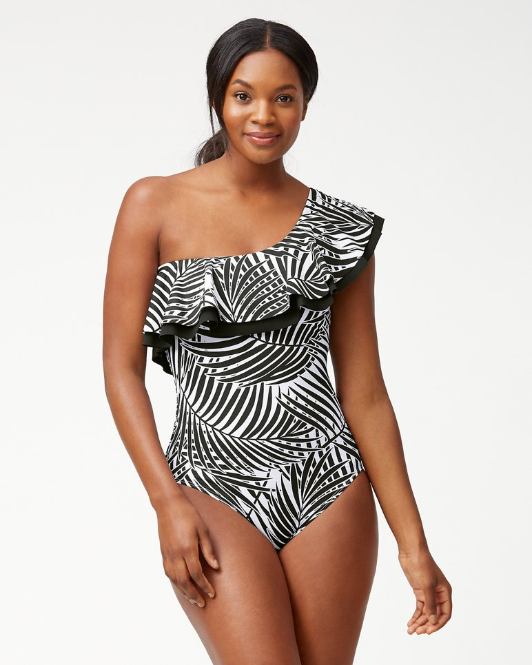 8a1c0b6bdc IslandSculpt™ Frond Song One-Shoulder Ruffle One-Piece Swimsuit