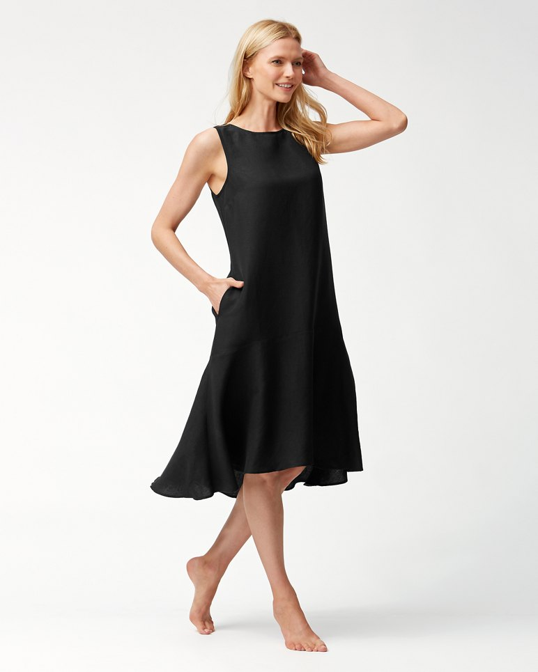 Main Image for Linen-Blend Flounce Dress