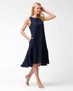 Linen-Blend Flounce Dress