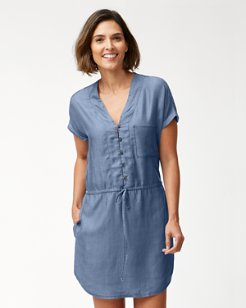 Chambray Drawstring Waist Dress