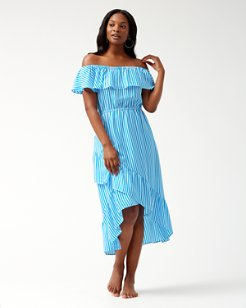 Palm Party Off-The-Shoulder Flounce Midi Dress