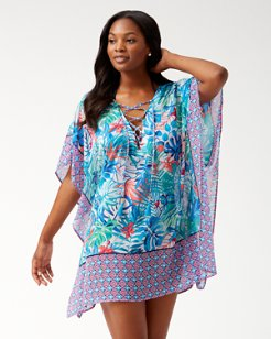 Palm Party Lace-Up Tunic