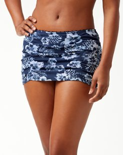 Chambray Blossoms Skirted Hipster Bikini Bottoms