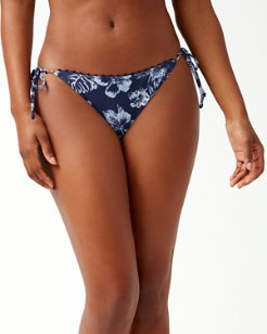 Chambray Blossoms Reversible String Bikini Bottoms