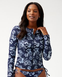 Chambray Blossoms Long-Sleeve Full-Zip Rash Guard