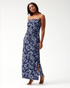 Chambray Blossoms Bandeau Maxi Dress