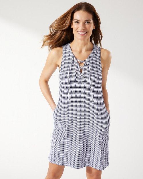 Island Cays Stripe Lace-Up Dress
