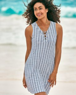 Island Cays Stripe Lace-Up Dress