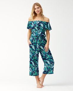 Breezy Palms Off-The-Shoulder Cropped Jumpsuit