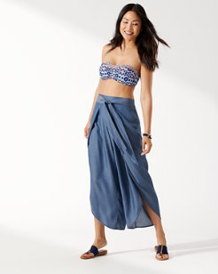Chambray Wrap-Front Beach Pants