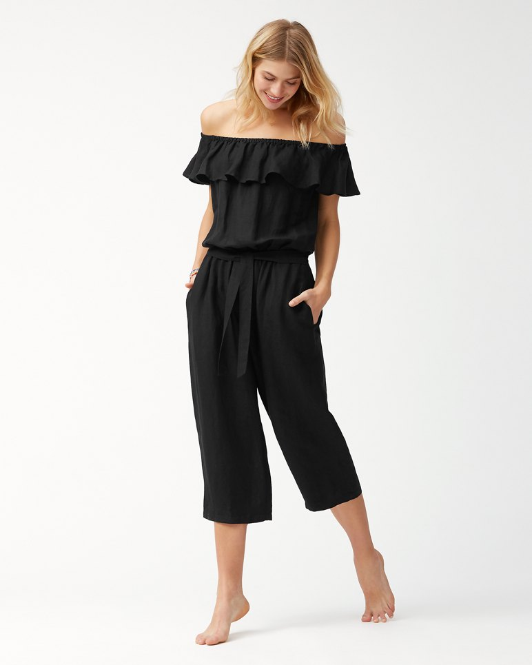 Main Image for Linen Off-The-Shoulder Cropped Jumpsuit