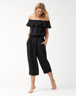 Linen Off-The-Shoulder Cropped Jumpsuit