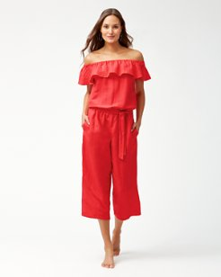Linen Off-The-Shoulder Cropped Jumpsuit
