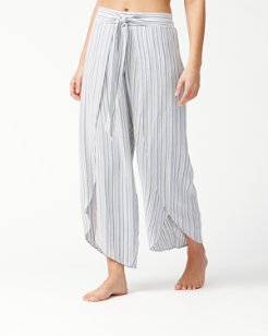 Stripe Wrap-Front Beach Pants