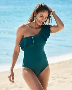 IslandSculpt® One Shoulder Flounce One-Piece Swimsuit