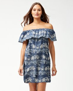 Chambray Off-The-Shoulder Ruffle Dress