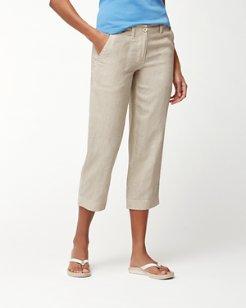 Sea Glass Linen Cropped Pants