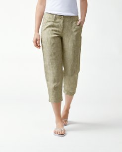 Serres Stripe Linen Cropped Pants