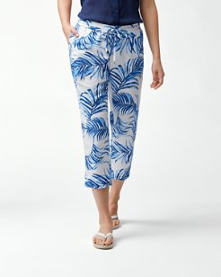 Fuller Fronds Linen-Blend Easy Cropped Pants