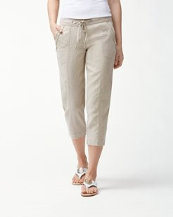 Two Palms Linen Seamed Cropped Pants