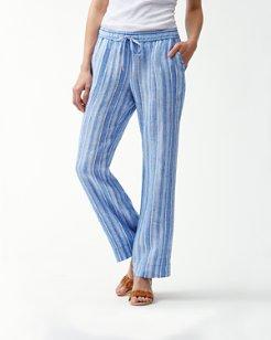 Santiago Stripe Linen-Blend Easy Pants