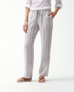 Santiago Stripe Linen-Blend Easy Pants
