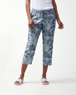 Fresco Fronds Chambray Cropped Pants