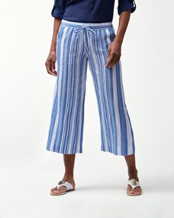 Playa Azul Linen-Blend Cropped Pants