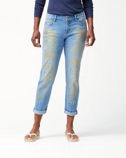 Tema Indigo Rain Foil Slim Boyfriend Jeans