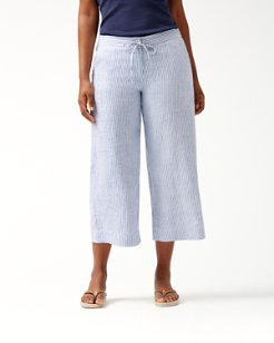 Crystalline Waters Linen Culotte Pants