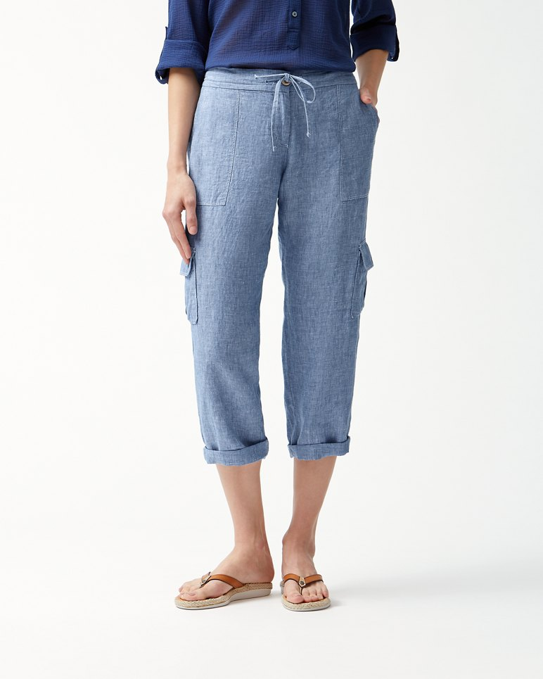Main Image for Palmbray Linen Cropped Cargo Pants
