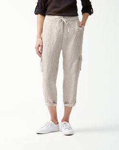 Palmbray Linen Cropped Cargo Pants