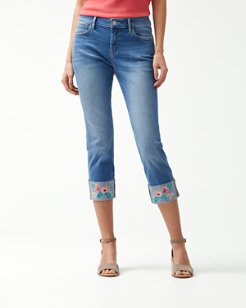 Tema Indigo Trellis Embroidered Cropped Jeans