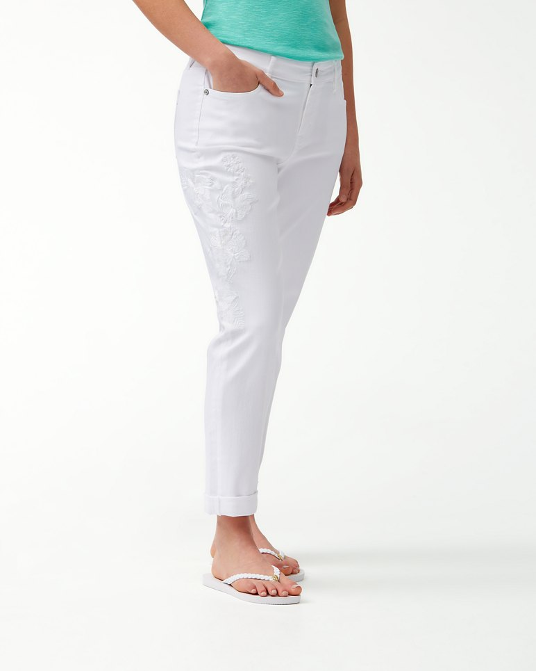 Main Image for Hibiscus Blanca Embroidered Slim Boyfriend Jeans