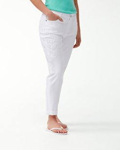 Hibiscus Blanca Embroidered Slim Boyfriend Jeans