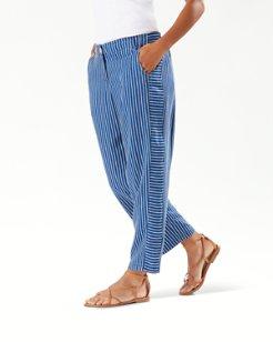 Fresco Stripe Indigo Cropped Pants