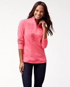 Jen & Terry Embroidered Half-Zip Sweatshirt