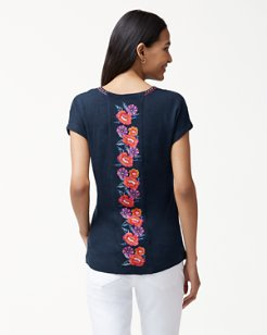 Linnea Frieda Floral Embroidered Linen Top