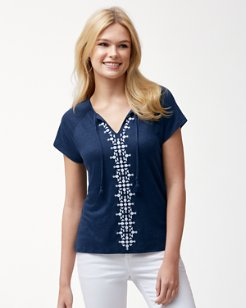 Linnea Embroidered Linen Top