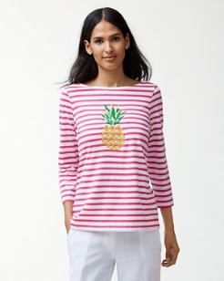 Embroidered Pineapple 3/4-Sleeve T-Shirt