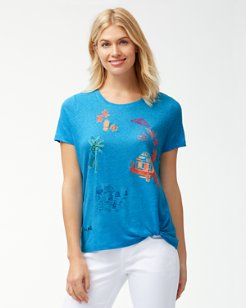 Coastal Cabanas Embroidered Linen T-Shirt