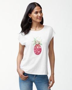 Sequin Pineapple Linen-Blend T-Shirt