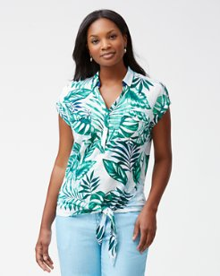 Mo'orea Monstera Linen Tie-Front Knit Shirt