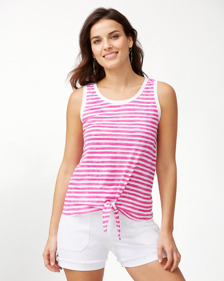 Main Image for Viento Waves Linen Tie-Front Tank